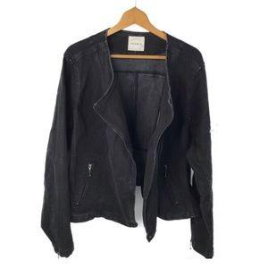 Torrid Faded Black Denim Moto Jacket Sz 28